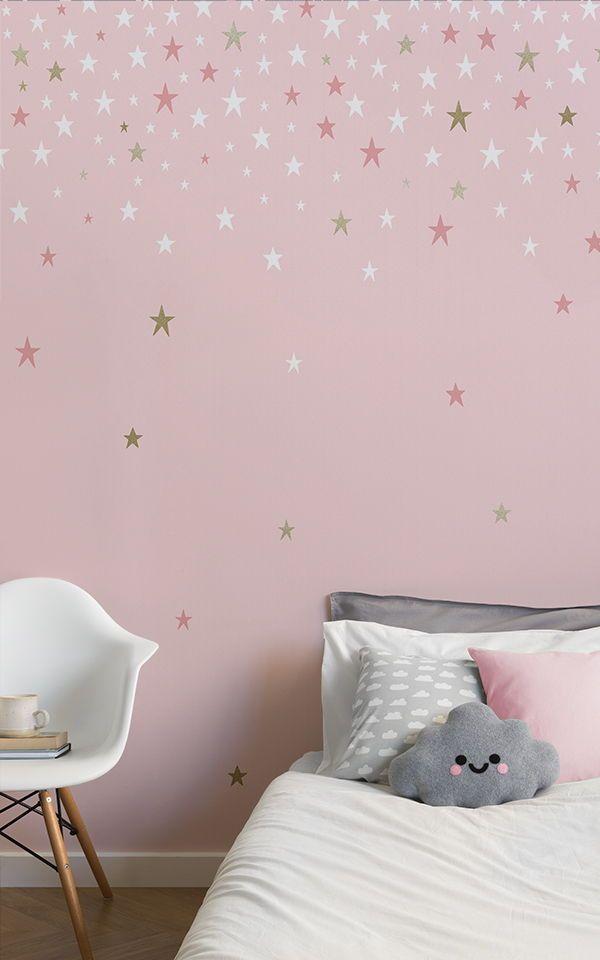 Falling Pink Stars Wallpaper Murals Wallpaper In 2021 Girls Bedroom Wallpaper Girl Bedroom Walls Pink Wallpaper Bedroom