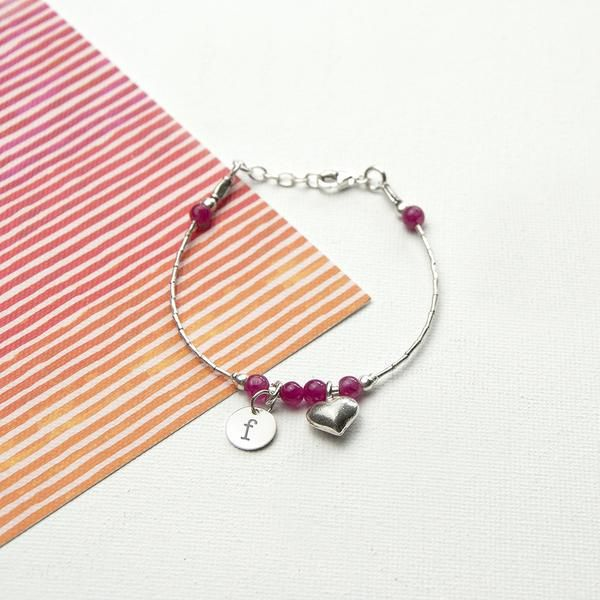 Girl's Sterling Silver Personalised Bracelet Multicoloured (Indian Ruby Shown)