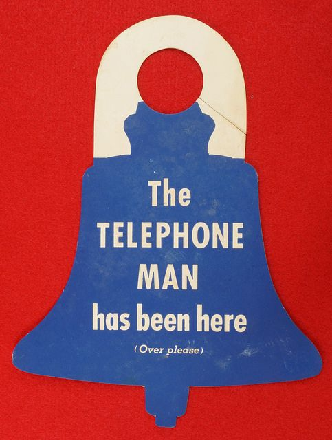 1955 Pacific Telephone And Telegraph Company New Phone Notice Door Hanger  eBay Link: http://www.ebay.com/itm/1955-Pacific-Telephone-And-Telegraph-Company-New-Phone-Notice-Door-Hanger-Card-/291849813594  RD6354       Go back to Tin Can Alley - FOR SALE: http://www.bagtheweb.com/b/PBdAfQ