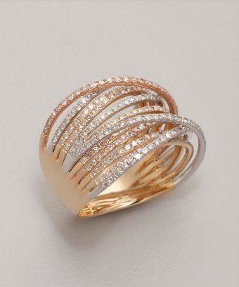 Julieri diamond and mixed gold 'Martha Graham' ring | BLUEFLY up to 70% off designer brands at bluefly.com