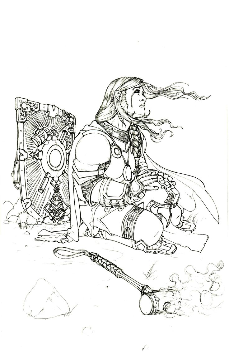 Hilda's (dwarf) story is a tragic one. This image showcases the day her brother died in combat and as a cleric she was unable to save him.