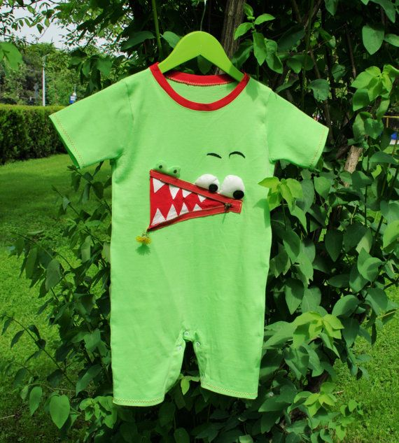 Crocodile Dundee Zipper Mouth Romper-Bodysuit-Sleeping PJs-Play Suit for Girl/Boy-Funny Animal Pattern Green Coverall Jumpsuit-Sizes NB to4T