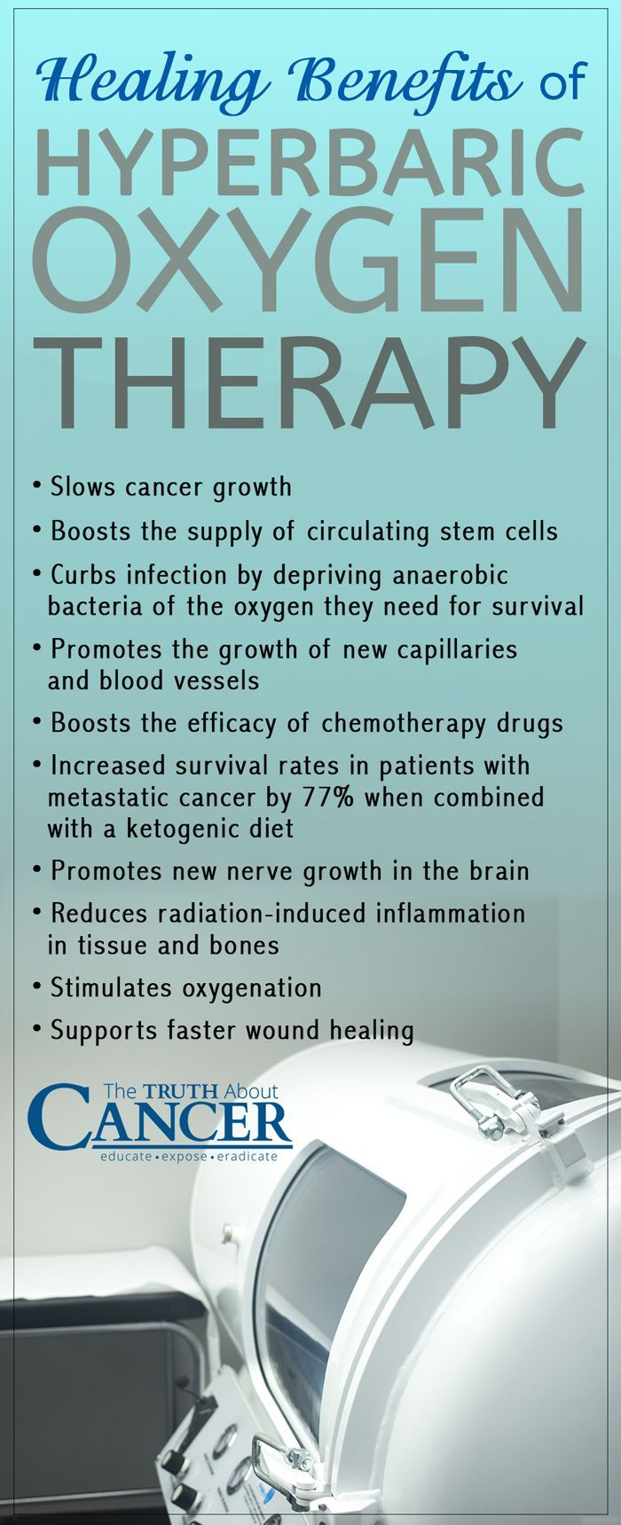 Did you know that cancer cells have an altered metabolism and are no longer dependent upon oxygen? In fact, high oxygenated environments are toxic to cancer cells. Read all about the healing benefits of Hyperbaric Oxygen Therapy here by clicking on the image or repin it for later! - The Truth About Cancer