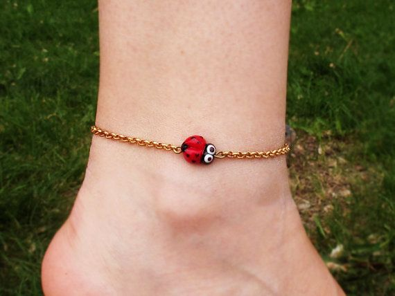Brass Chain Anklet with Ladybug Bead by GlassHouseLampwork on Etsy