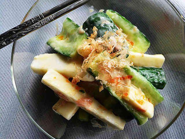 3分副菜 キュウリと長芋のごま梅おかかの画像