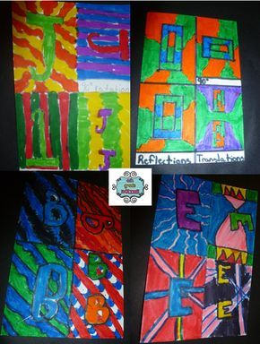 4th Grade Frolics: Rotations, Reflections, and Translations - Math Art!! Use a notcard and their initial