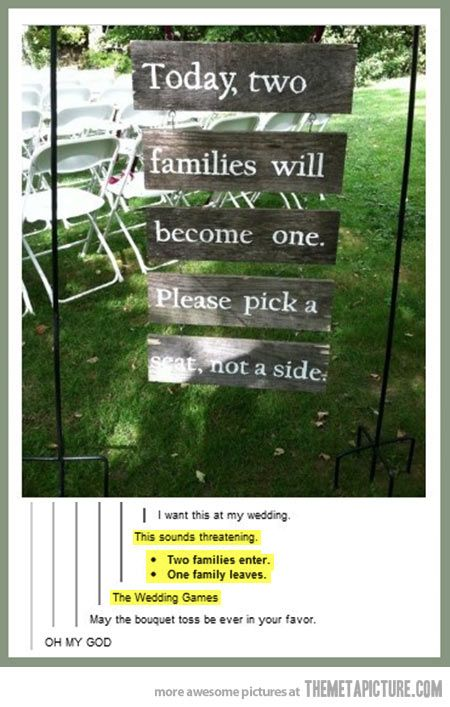 The wedding games… hee hee I know what it means but I like two families go in and only one comes out!