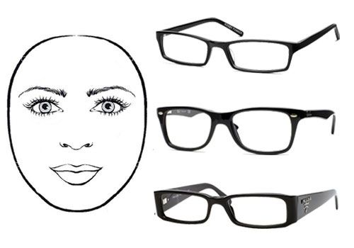 Eyeglass frames for round face shape: rectangular, sharp angles & more horizontal than vertical