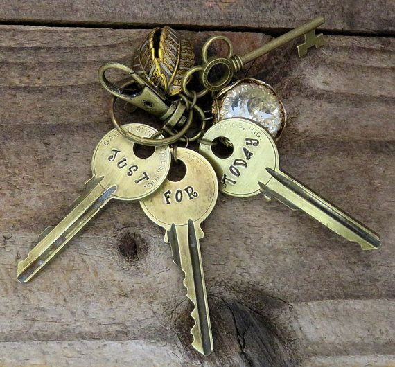 Recovery Gifts - Stamped Keys - Just For Today - NA Sober Gifts - Bag Charm - Sobriety Gift - Purse Clip - NA Keychain...                                                                                                                                                                                 More