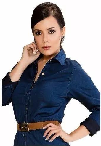 vestido jeans moda evangelica titanium 23125 - lançamento/17