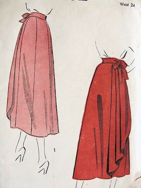 Simple Wrap around Skirt Pattern | 1940s BEAUTIFUL SIDE WRAP AROUND SKIRT PATTERN ADVANCE 4931