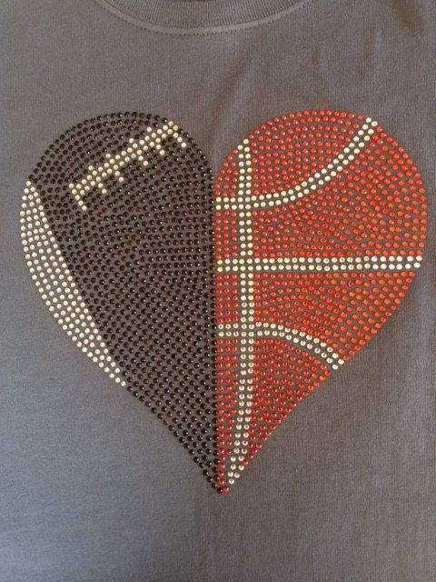 Football and Basketball Heart Rhinestone Tshirt  by PinkAnchorTees, $22.00 ***Other sport combos available!