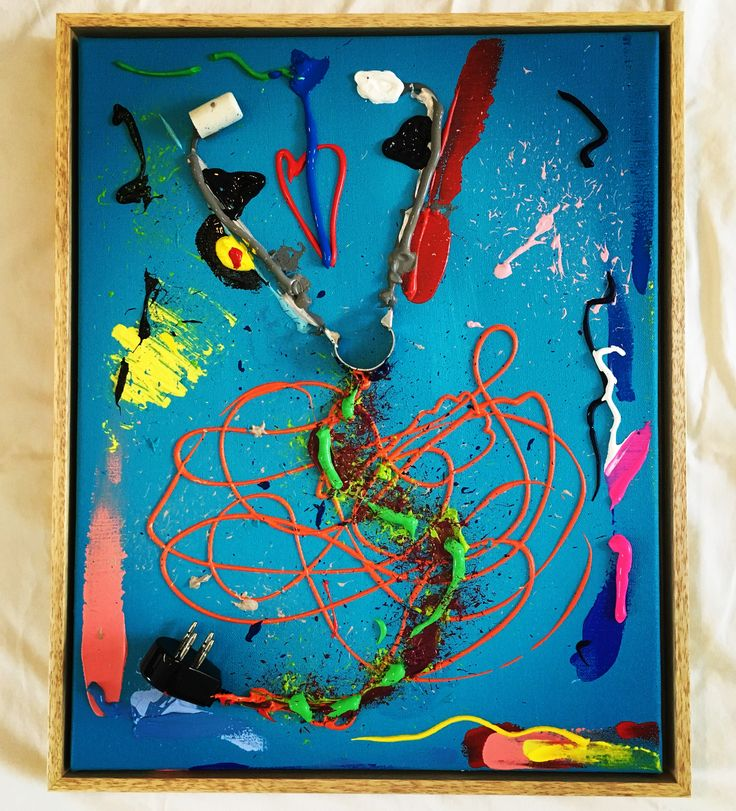 SNAKE-O-SCOPE, 40 x 50, bits and pieces on canvas, acrylic paint, framed