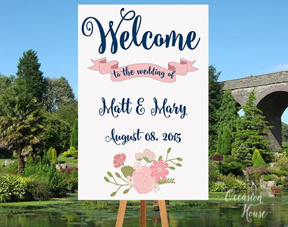 Wedding Welcome Sign, Wedding Reception Sign, Printable Wedding Welcome Poster, Navy Blue and Blush Wedding, Gold Metallic Wedding, WS044 by OccasionHouse on Etsy