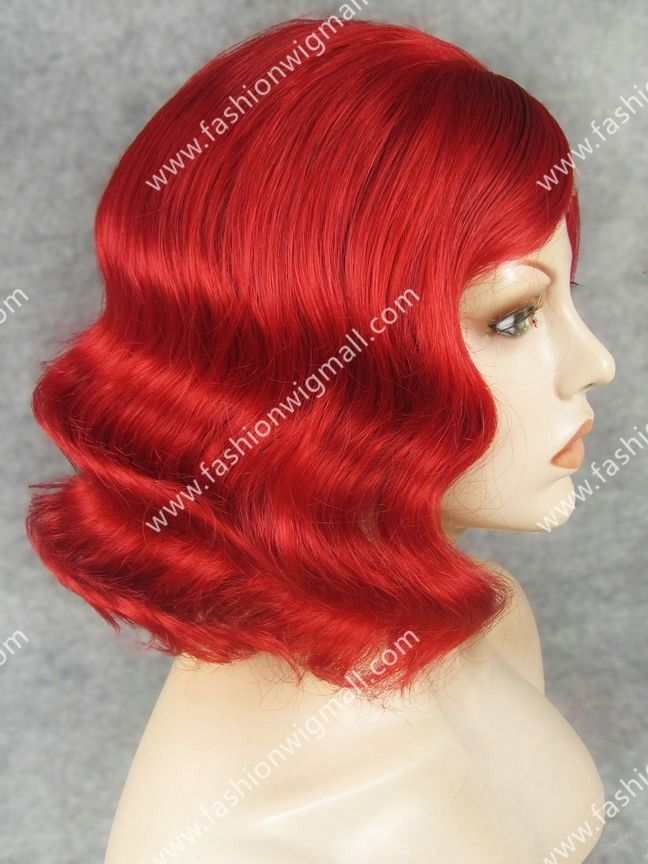 Red Wavy Lace Front Synthetic Wig #synthetic wig