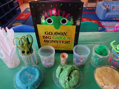 """Read 'Go Away Big Green Monster' by Ed Emberley & make play dough monsters, using play dough, toothpicks, feathers, beads, pipe-cleaners & googly eyes - from Ordinary Moments... Extraordinary Memories ("""",)"""