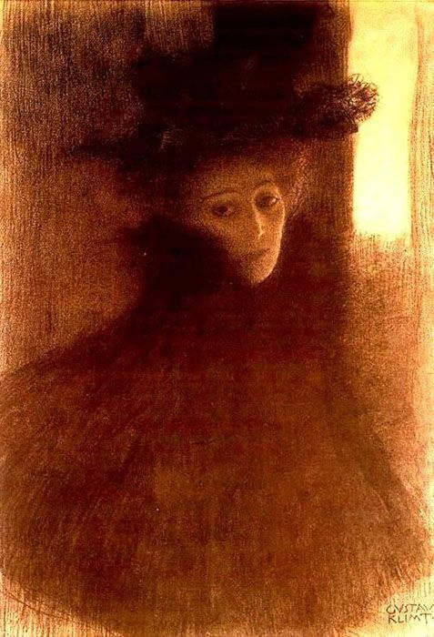 """Gustav Klimt, """"Woman with Cape and Hat in Three-quarter Profile,"""" Black-and-red Crayon Drawing, 1897–1898."""