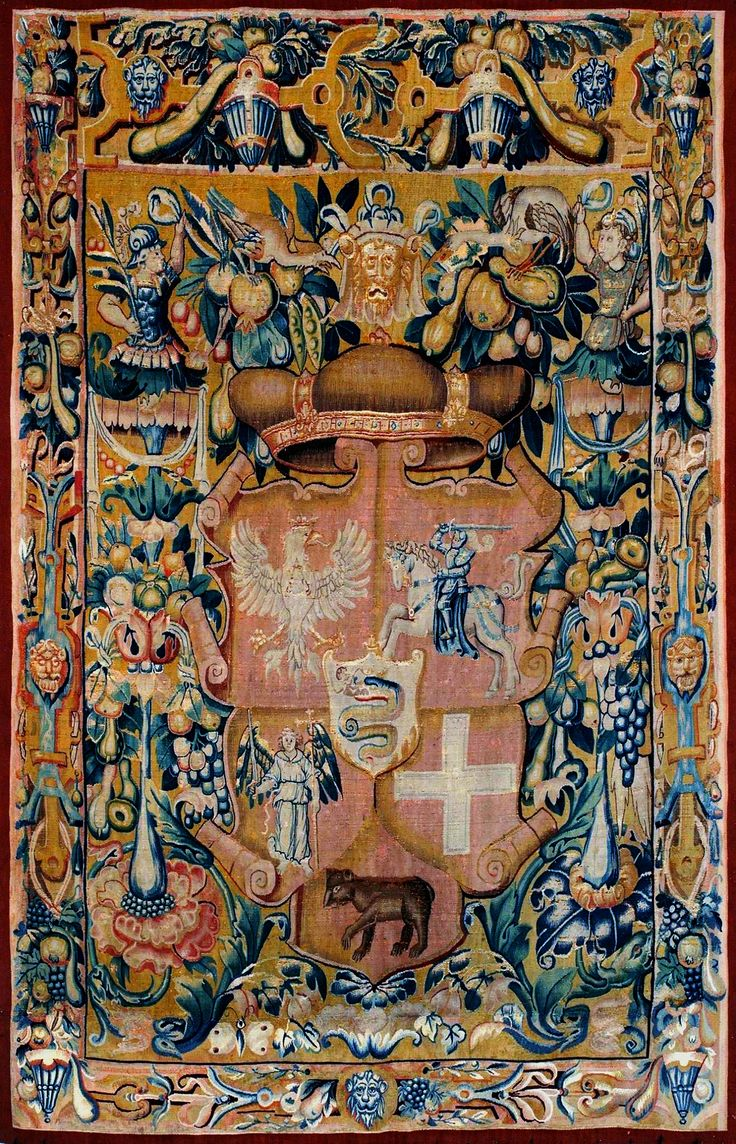 Tapestry with coat of arms of Sigismund Augustus when Grand Duke of Lithuania by Enghien or Gramont workshop, ca. 1548 (PD-art/old), Valdovų rūmai