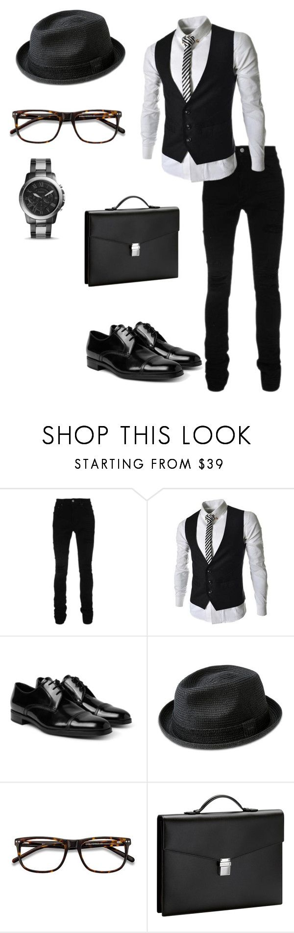 """Untitled #970"" by crystalrose-014 ❤ liked on Polyvore featuring AMIRI, Prada, Bailey of Hollywood, Ace, Montblanc, FOSSIL, men's fashion and menswear"