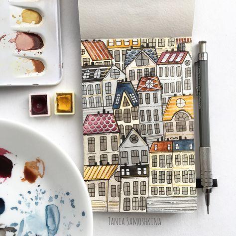 Gemälde Aquarell Stadt Aquarell 54 Ideen für 2019