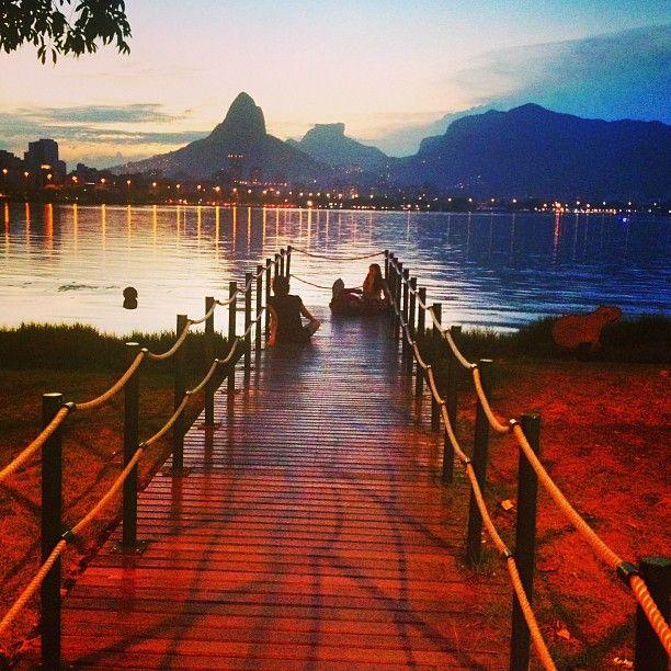 Lagoa Rodrigo de Freitas, Rio de Janeiro Brazil.(a lake in the south zone of Rio de Janeiro. We can see when you go to Corcovado mountain too) it's a magnificent view!