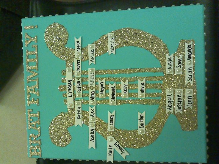 Made this family for my Twin! Alpha Chi Omega Lyre family tree