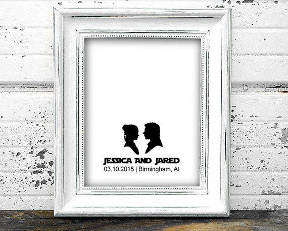 Mariage commentaires affiche imprimable Star Wars Han et Leia livre alternative sign-in personnalisé personnalisé art maison décoration murale