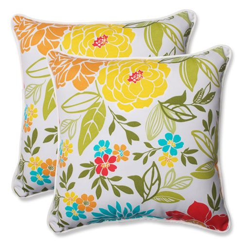 Pillow Perfect Spring Bling Multicolor 18.5 Inch Outdoor Throw Pillow, Set  Of 2