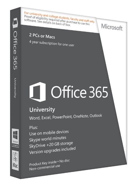 Microsoft Office 365 University £58.95 - A four year subscription (no additional subscriber fee) and provides access to both Office 365 online services as well as a download of Office 2013 for Windows or Office 2011 for Mac. Includes Microsoft Word, PowerPoint, Excel, Outlook, OneNote, Access and Publisher as well as 60 Skype to phones in 40+ countries every month and an extra 20GB of online storage in SkyDrive for anywhere access to your documents