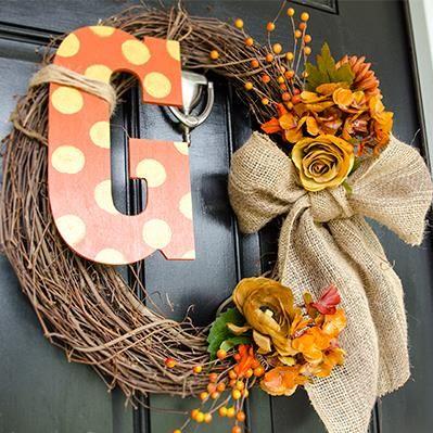 DIY Monogram Fall Wreath!  Love the Dots in Fall colors..