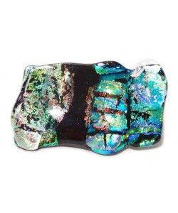 Broche van turquoise-groen-blauw glas met subtiele oranje schittering!