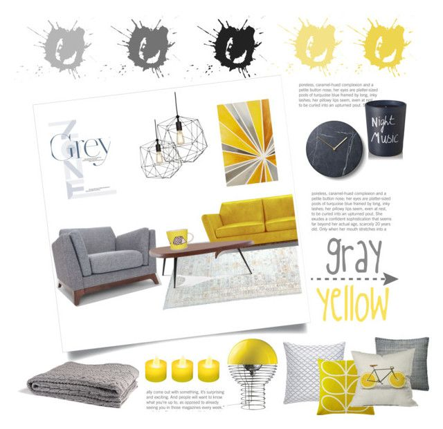 gray and yellow by levai-magdolna on Polyvore featuring interior, interiors, interior design, home, home decor, interior decorating, Joybird, Cassina, VerPan and in2green