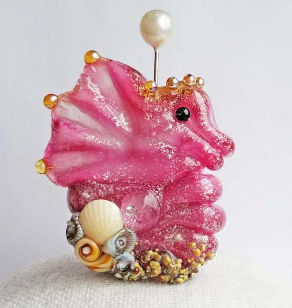 Beachy Bottom Seahorse Focal in Shimmery Pink by Sabrina Koebel Handmade Lampwork Beads