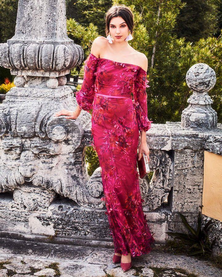 0fd8594a439a Marchesa Off-the-Shoulder Bishop-Sleeve 3D Floral-Embroidered Gown #Bishop# Shoulder#Marchesa