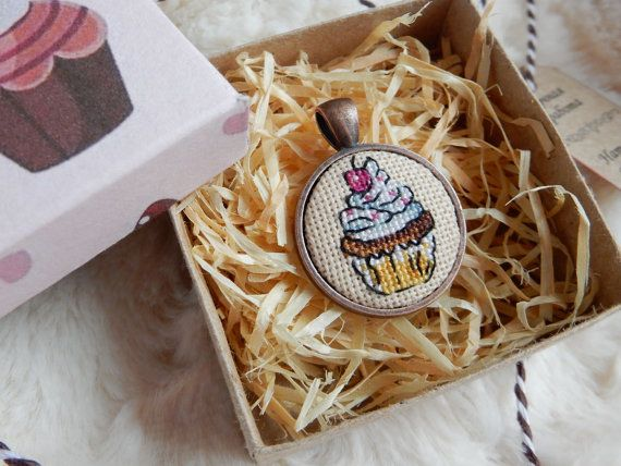 """The pendant """"Cupcake"""" is handmade item with miniature crossstitch (size of one microstitch is less than 1mm). Size of pendant: 29x29mm, colour of the frame is gold or 28x28... #cake #cupcake"""