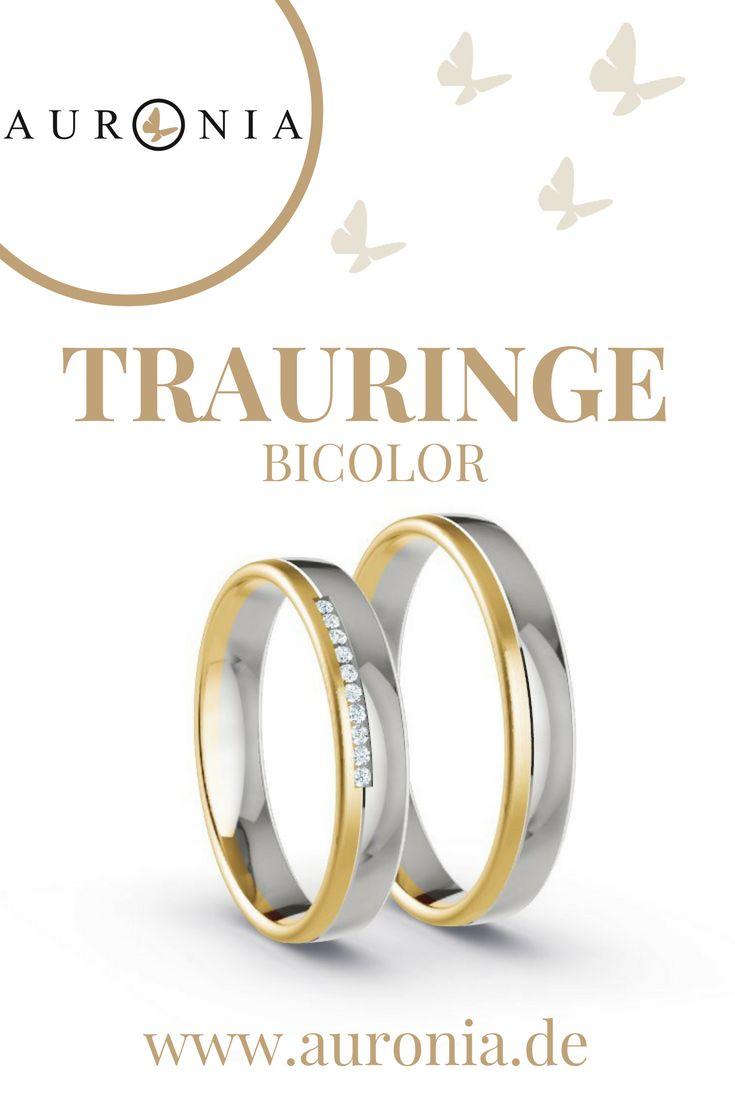 Trauringe Bicolor in Gelbgold/Weißgold, 10 x Brillant G-VS 0,005 ct, Oberfläche Längsmatt / Poliert
