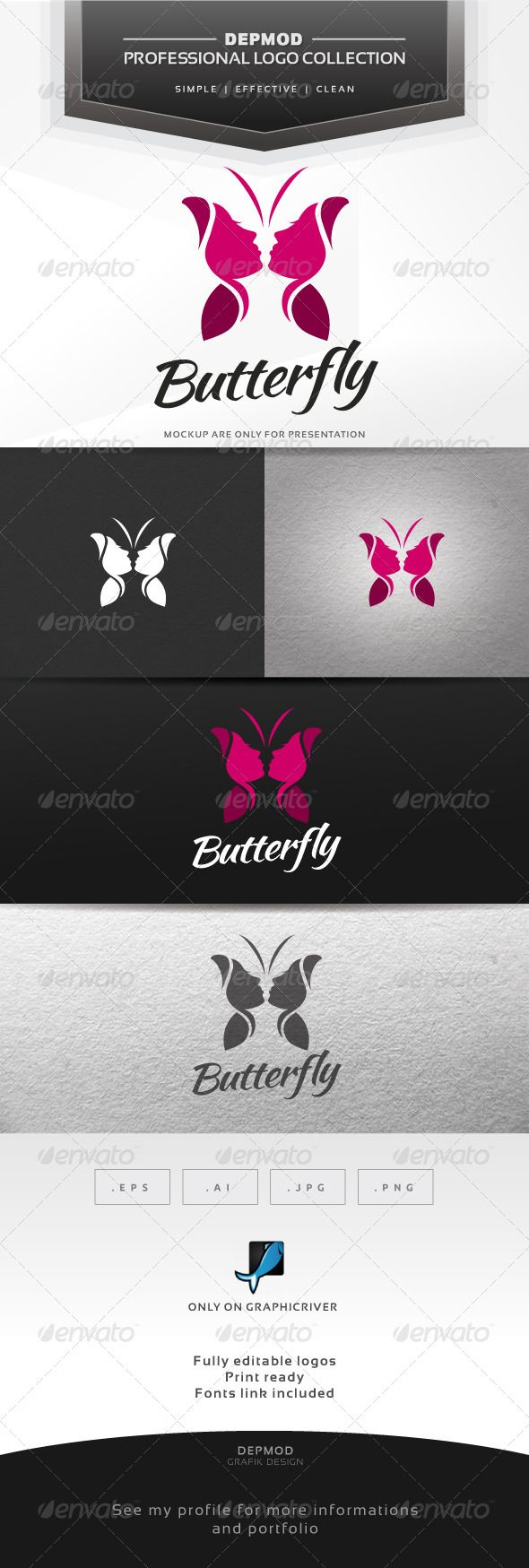 Logotype butterfly and letter b in different colour variants on a - Butterfly Logo