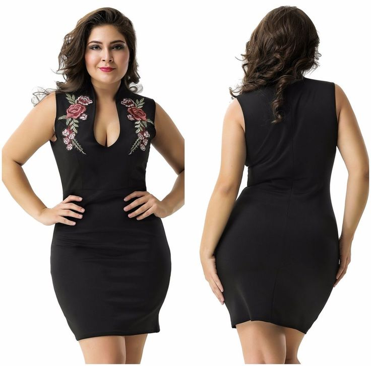 Mini Sleeveless Embroidered Floral Black Party Formal Plus Size Dress SZ 8-16AVL