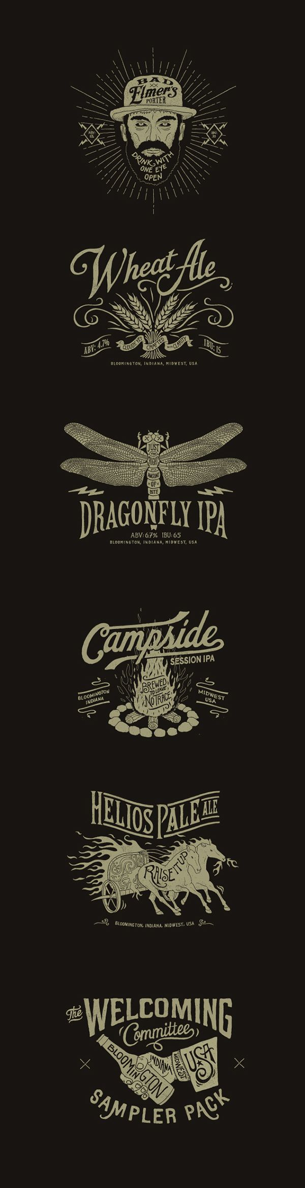 Love the dragonfly and campfire ones here.  These are all beer label artwork for different brews but have same feeling.  Some seem a bit too dark for my taste but I do like the edginess.  Love the handwritten feel throughout.  Love they can all stand on their own.