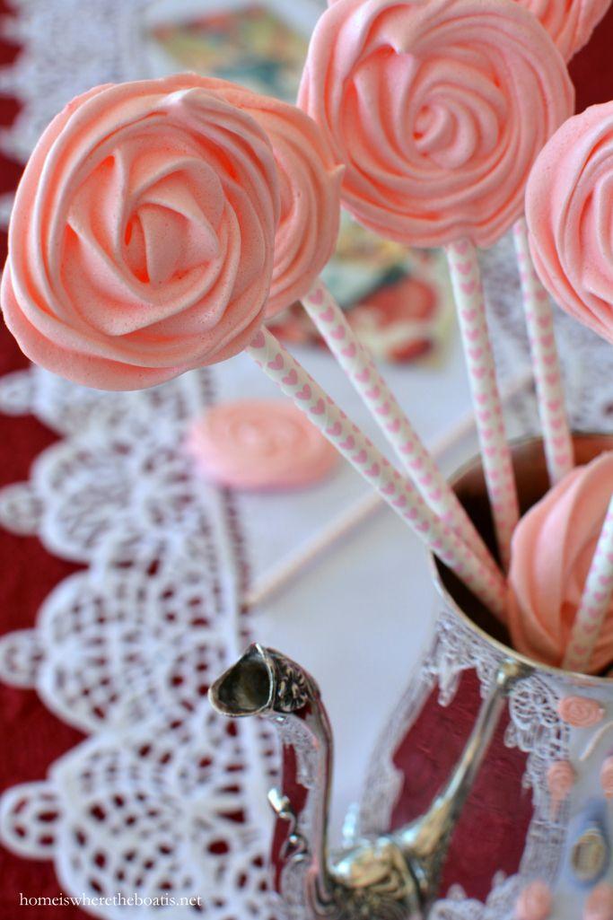 Rose Meringue Cookies for Valentines