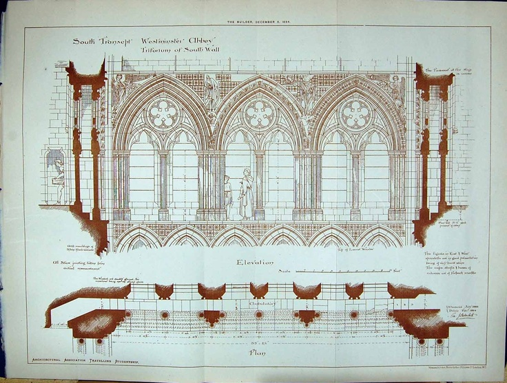 1884 Transept Westminster Abbey Plan Architecture London