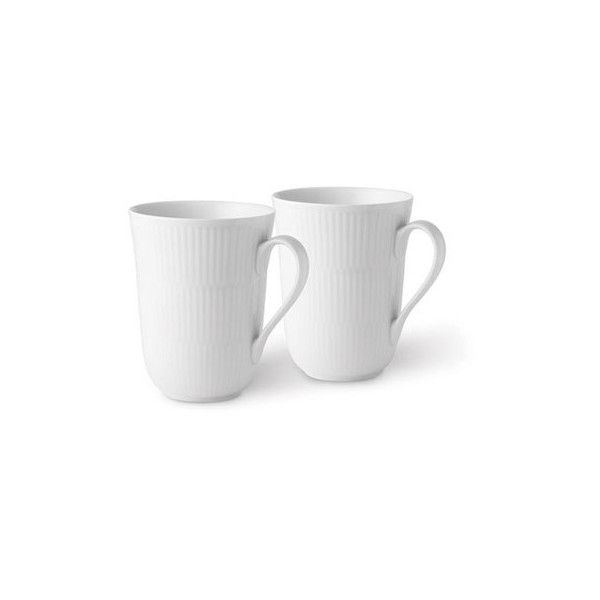 Royal Copenhagen White Fluted Plain Mug 2-Pack (515 SEK) ❤ liked on Polyvore featuring home, kitchen & dining, drinkware, plain mugs, royal copenhagen mugs, white porcelain mugs, royal copenhagen and white mug