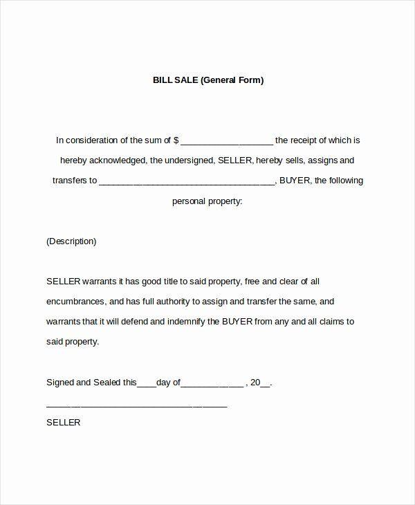Generic Bill Of Sale Form Printable Luxury Free Printable Bill Of