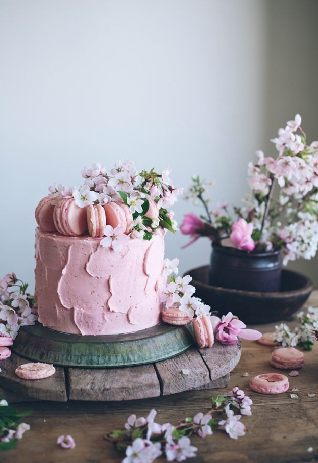soft iced pink cake with macarons