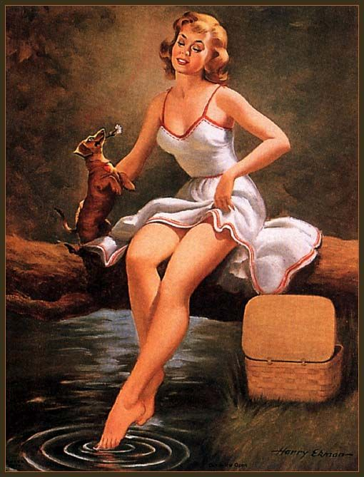 Harry Ekman was a significant American graphic artist. His early influences were Gil Elvgren, Haddon Sundblom, Joyce Ballantyne. Ekman initially apprenticed with Sundblom who was a close family friend and by 1951 for Elvgren. Wikipedia  b 1923, United States of America