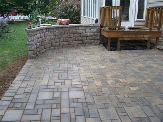 Poured Concrete Patio And Retaining Wall