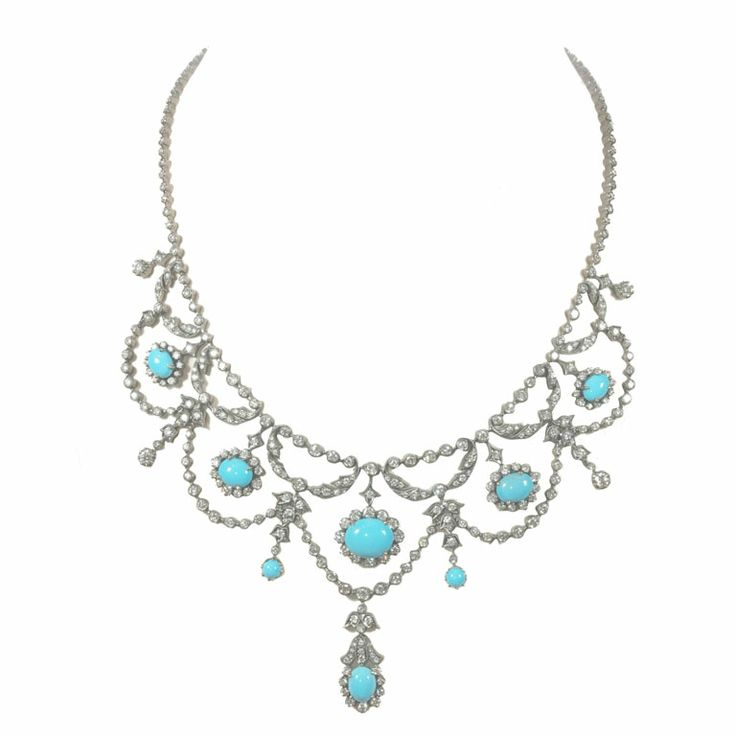 Fine Persian Turquoise, White Gold and Diamond Necklace