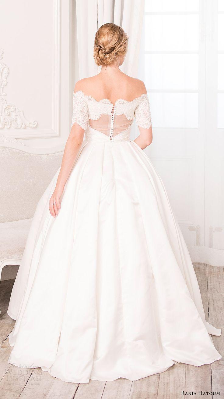 rania hatoum bridal spring 2017 half sleeves off shoulder ball gown wedding dress (inaa) bv