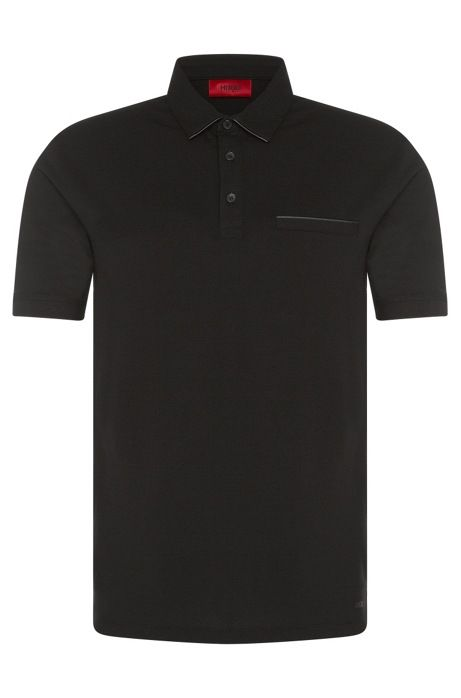 Regular-fit polo shirt in stretch cotton with leather-effect details: 'Dolorino'
