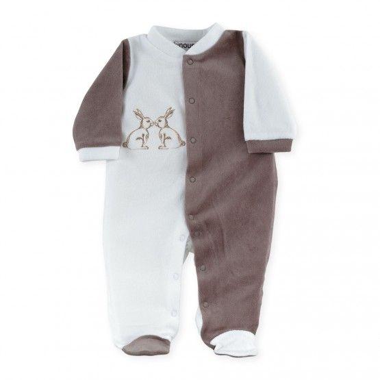 """Pijama """"2 Conejitos"""" #pijama #bebe #mixto #dos #conejitos #blanco #chocolate #kinousses"""
